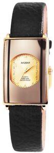 Akzent-Damenuhr-Gold-Schwarz-Analog-Kunst-Leder-Quarz-Armbanduhr-XSS7304000036