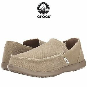 768105aaaffa52 Mens Crocs Santa Cruz Fashion Loafer Khaki Canvas Casual Beach All ...