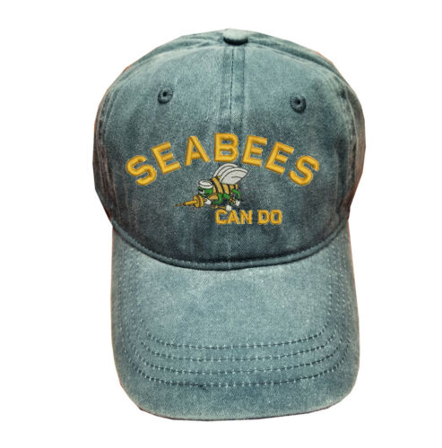 Blue Gray Washed cotton cap dad hat SEABEES CAN DO SEA BEES