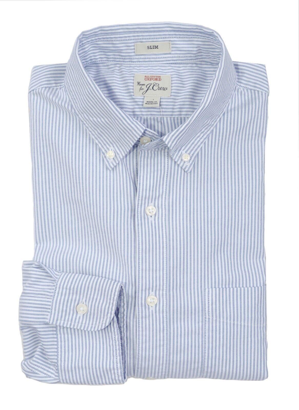 J.Crew Men's s Slim Fit - NWT - bluee & White Striped Oxford Cotton Shirt  H475