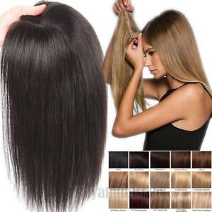 Clip-in-100-Human-Remy-Hair-Piece-Topper-Toupee-Women-Highlight-THICK-Mono-US