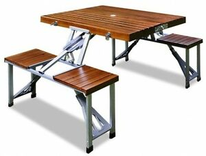 New Camping Table Wooden Outdoor Garden Table And Bench Folding