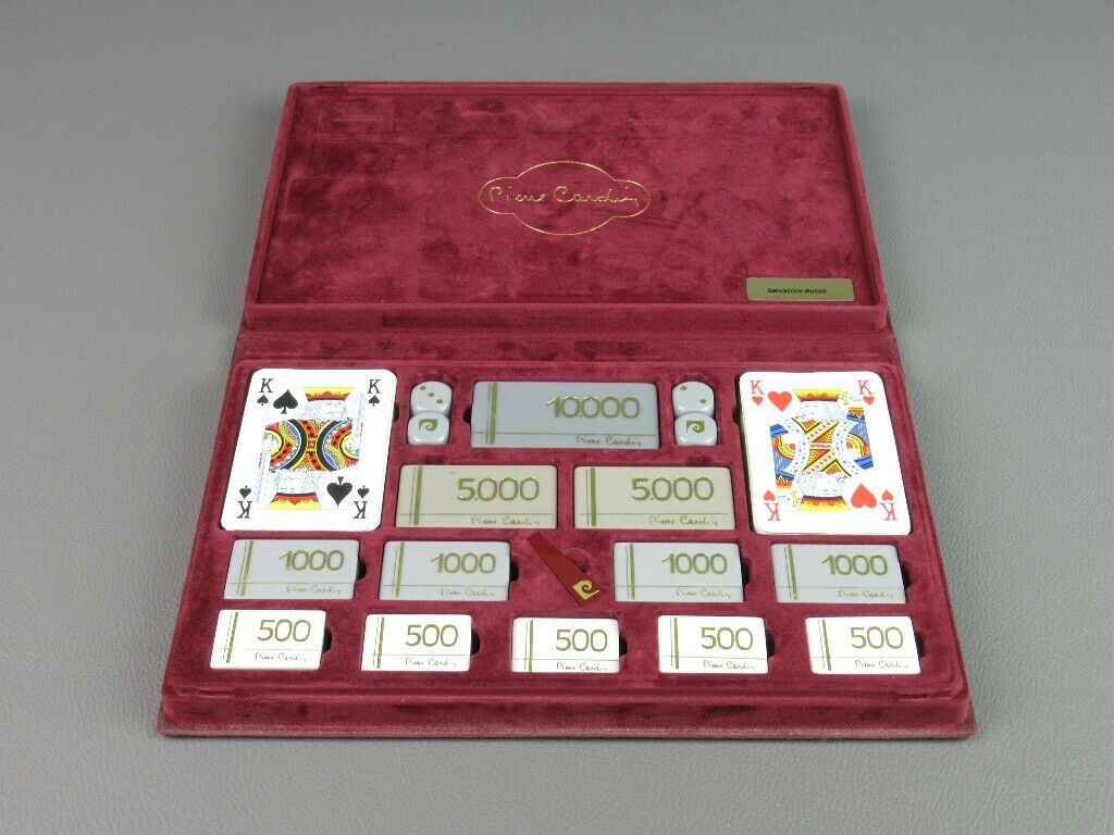 Pierre Cardin Rare Game Box Years' 70 Box Game with Cards Fish & Dice