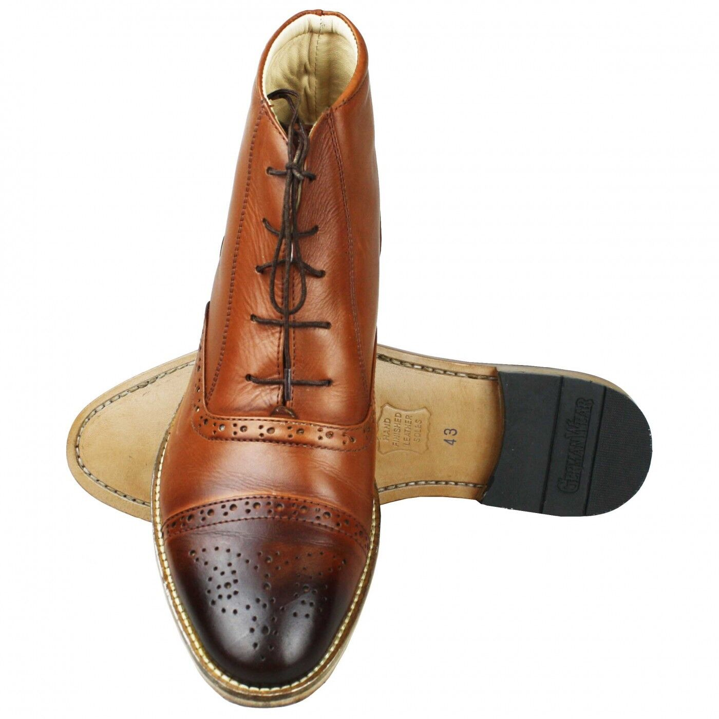 Business Stiefelette Schuhe Brogues Stiefelette Business Lederschuhe mit Ledersohle Schuhe braun 7995f4