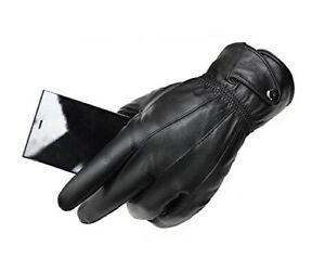 braderie prix favorable vente en ligne Détails sur Gants cuir homme noir doublure polaire interne taille S M L XL  XXL