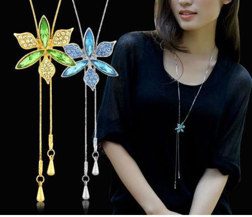 Nuevo Diseñador Austria Cristal Flor Azul Ajustable Larga Cadena Collar Colgante