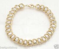 Qvc Diamond Cut Double Wire Curb Bracelet Real 14k Yellow Gold 7.3gr Free Ship