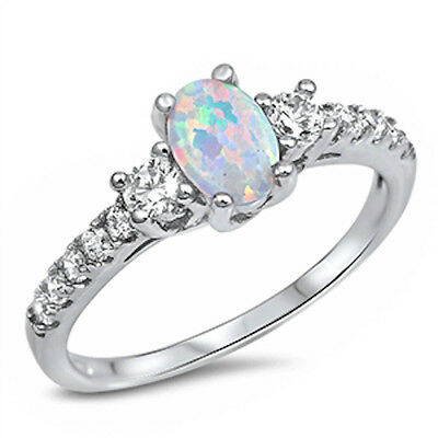 Beautiful White Opal & Cz .925 Sterling Silver Ring Sizes 3-13