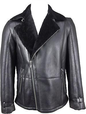jetzt kaufen riesiges Inventar Auf Abstand UNICORN Herren Schafspelz Mantel - Schwarz / Schwarz Pelz - Echtleder Jacke  #GV | eBay