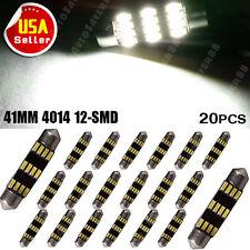 20x White 12smd Festoon 4104 41mm LED Map Dome Interior Lights Bulbs DC12V
