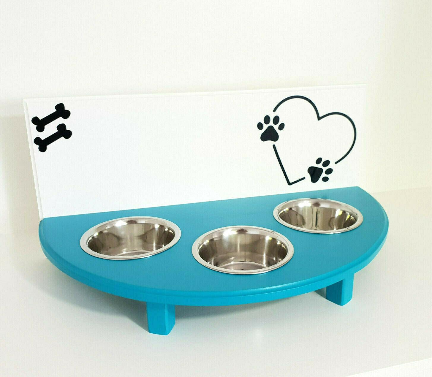 Hundenäpfe, Futterbar, Napfständer 3 Näpfe, weiß türkis. Wunschname  (81r)