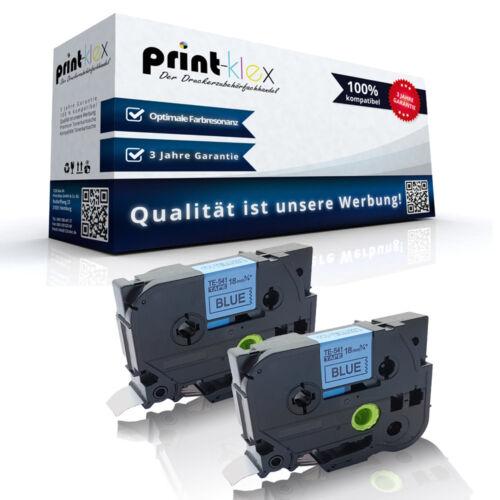 Drucker Pro Serie 2x Kompatible Schriftbänder für Brother TZE541 18mm x 8m Band