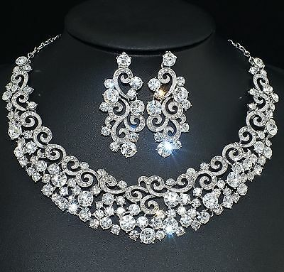 YT234 Clear Rhinestone Crystal Earrings Necklace Set Bridal Party Gift