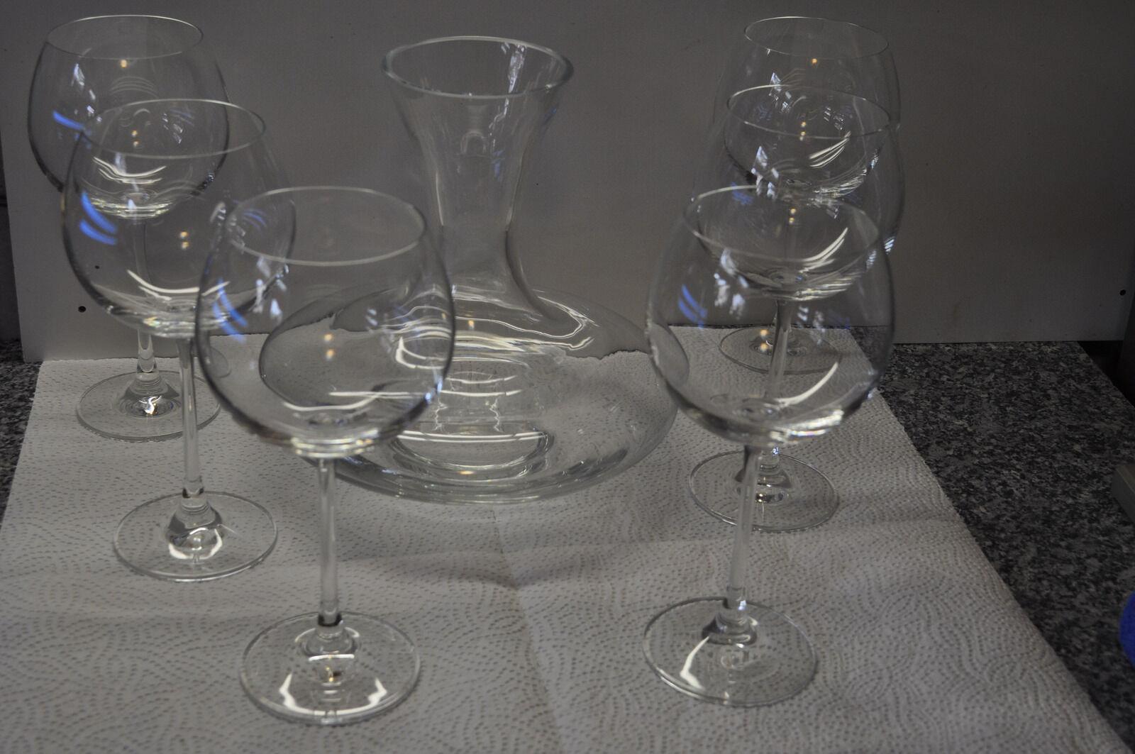 7 TLG Weinserviece 1 x Karaffe und 6 x  hohe Weingläser   Wonderful