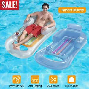 59in-Inflatable-Floating-Raft-Swimming-Pool-Lounge-Air-Mat-Chair-w-Cupholder
