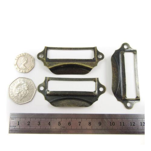 ANTIQUE BRASS CARD HOLDER FRAMES 70 x 29mm PULL OPEN TAB FILING CABINET H871