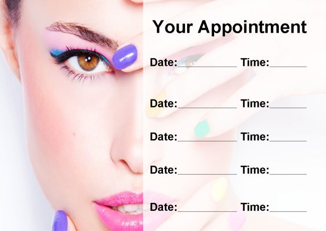 Colourful Nail Or Beauty Salon Personalised Appointment Cards
