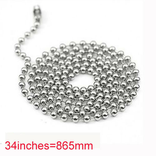Silver Tone Stainless Steel 2.4mm Ball Bead Chain 18-36 inch dog tags Necklace