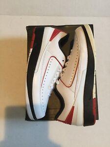 Air-Jordan-Mens-Retro-2-Low-Nike-832819-101-Black-White-Red-Bred-Size-8-Wings