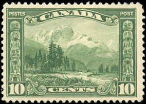 Mint-H-Canada-10c-1928-F-VF-Scott-155-KGV-Scroll-Issue-Stamp