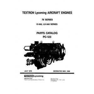 Details about Lycoming Aircraft Engines 76 Series Parts Catalog PC-123