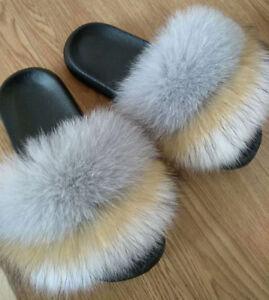9619fe373df2 Women s Real Fox Raccoon Fur Sandal Shoes Flat Slides Indoor ...