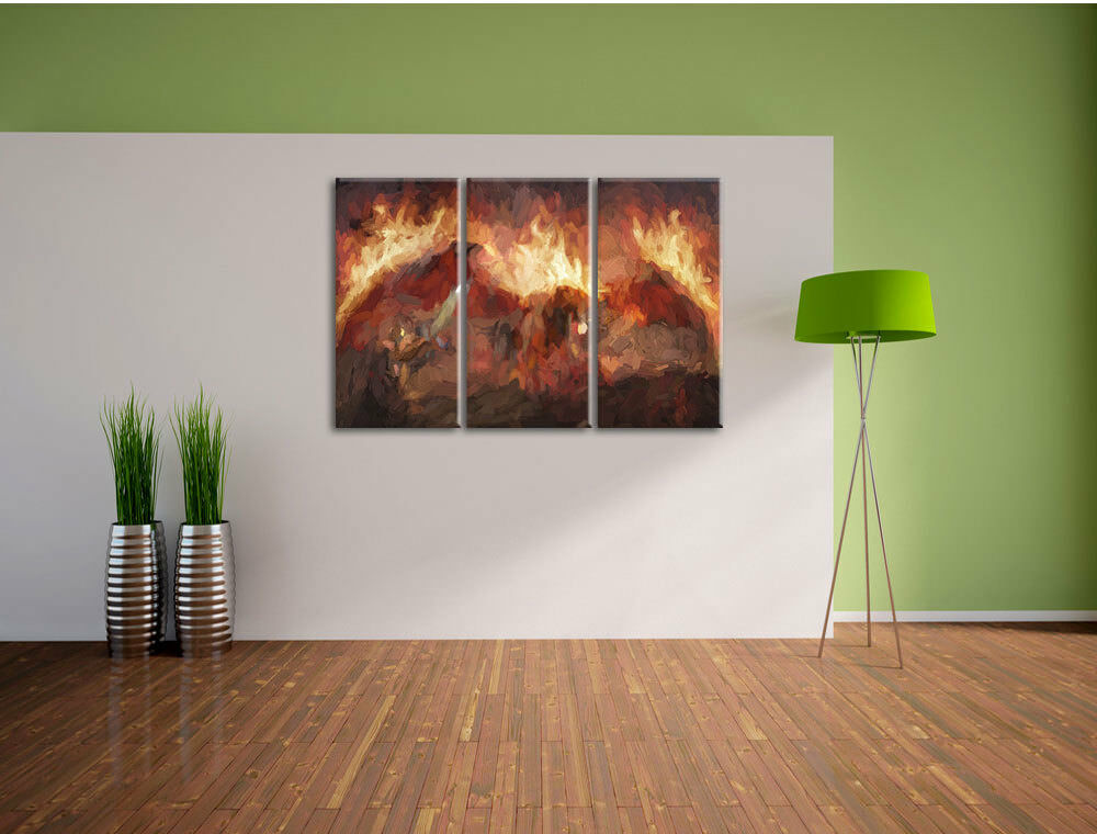 Combatte Cavalieri contro Draghi nel fuoco fuoco fuoco arte effetto pennello 3-Divisorio tela W f0c32a