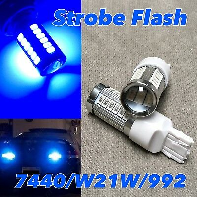 STROBE FLASH Rear Turn Signal T20 7440 7441 992 W21W LED 6000K White Bulb W1 JAE