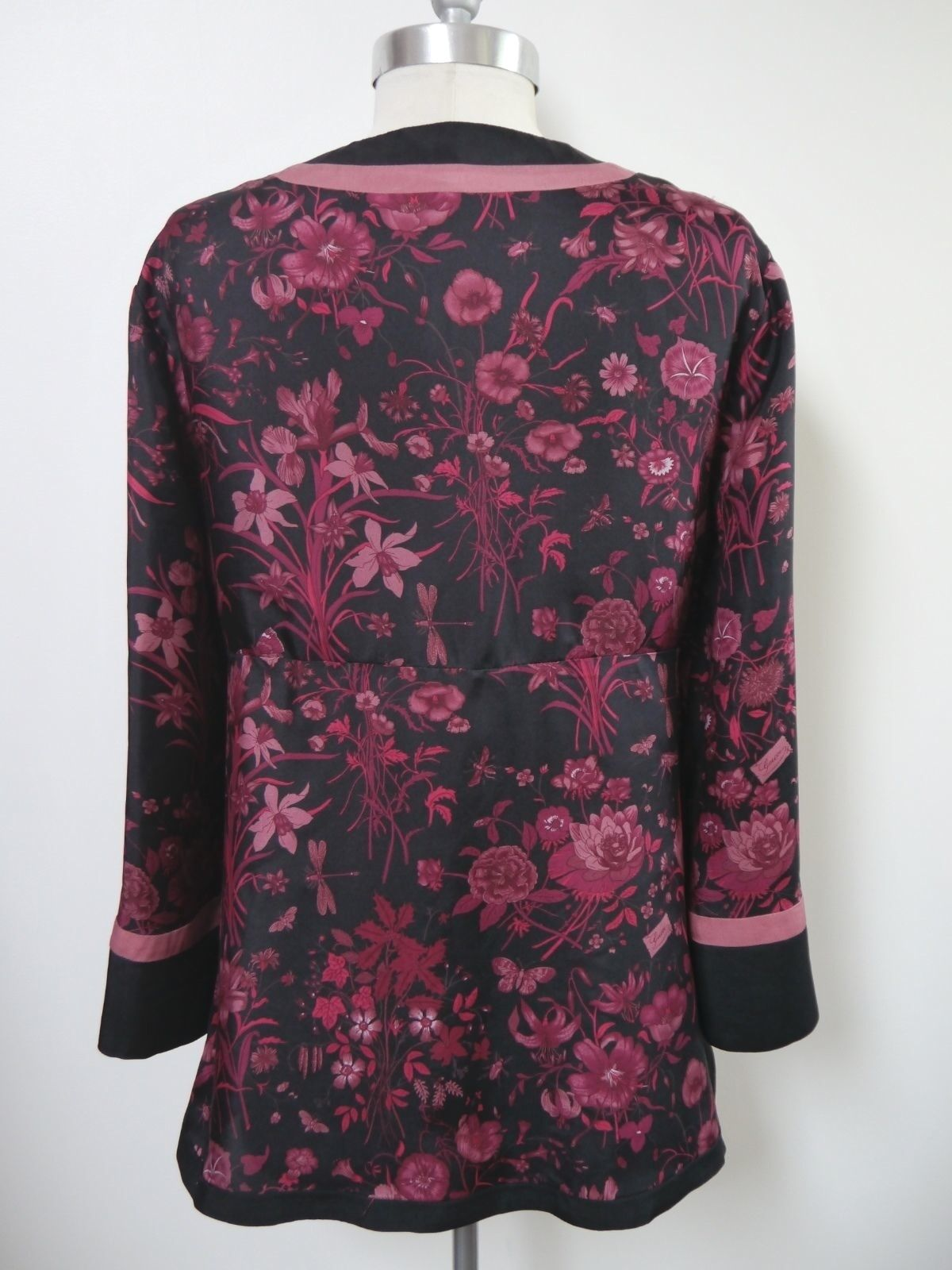 GUCCI black burgundy floral butterfly print silk … - image 7