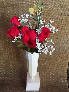 Cemetery Memorial Artificial Flowers Red Roses In Sturdy White