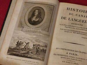 HISTOIRE-DU-CANAL-DE-LANGUEDOC-Canal-du-Midi-Rare-EO-1805-Pierre-Paul-RIQUET