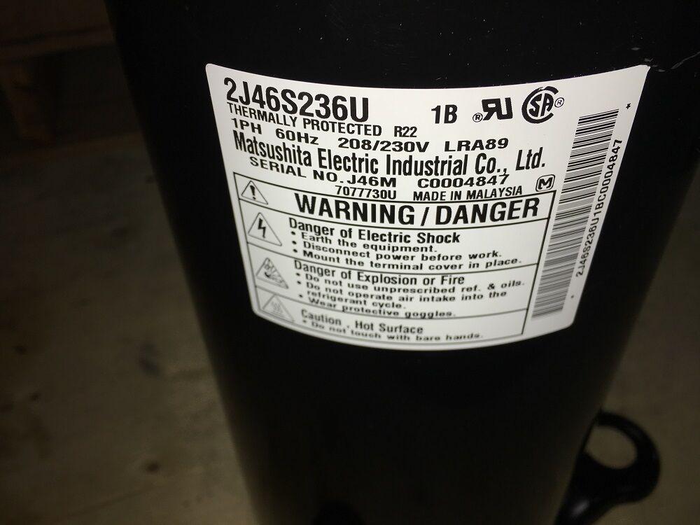 Matsushita ACH2352U 2J46S236U 208/230V R22 LRA89 Rotary Compressor