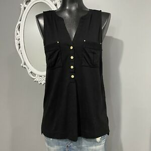 Small-WHITE-HOUSE-BLACK-MARKET-Sleeveless-Gold-Buttons-Blouse-Top