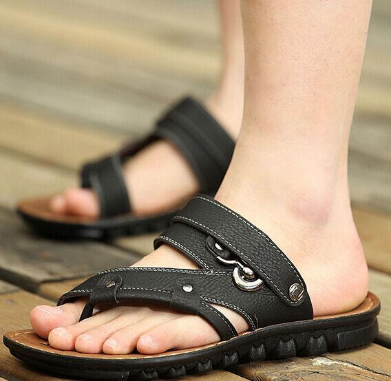 Fashion Mens sandal gladiator toe ring flip flops slipper Leather beach shoes