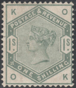 1884-SG196-1s-DULL-GREEN-WATERMARK-CROWN-VERY-FINE-BARELY-MOUNTED-MINT-OK