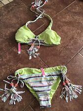 Victoria Secret NEW Set: Reversible Lace-Up Halter Swim Top S 8 10 + Bottom M