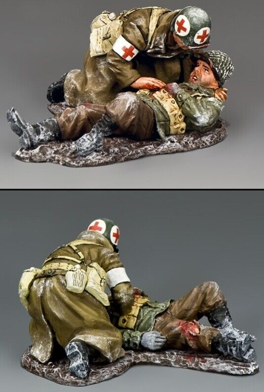 King & Country Battle Of The Bulge Bba079 Seriously Herido Set MIB