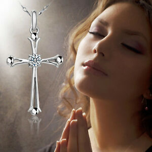 Women-Fashion-Silver-Plated-Crystal-Cross-Pendant-Necklace-Party-Jewelry