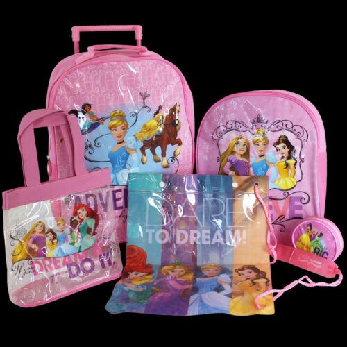 5tlg Disney Princess Kinder Trolley Set Schultasche Rucksack Sporttasche Mädchen