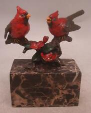 Two Birds on a Branch Cold Painted Bronze Sculpture - Solid Marble Base