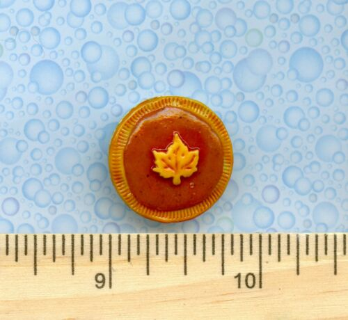 Dollhouse Miniature Size Sue/'s Handcrafted Pumpkin Pie with Maple Leaf
