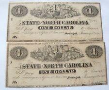 LOT OF 2 1863 STATE OF NORTH CAROLINA ONE DOLLAR BILLS