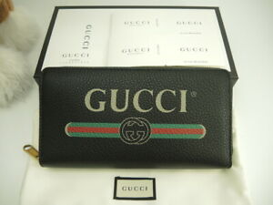 GUCCI-Authentic-Logo-Print-Calf-leather-Zip-Long-Wallet-Black-New-Unused