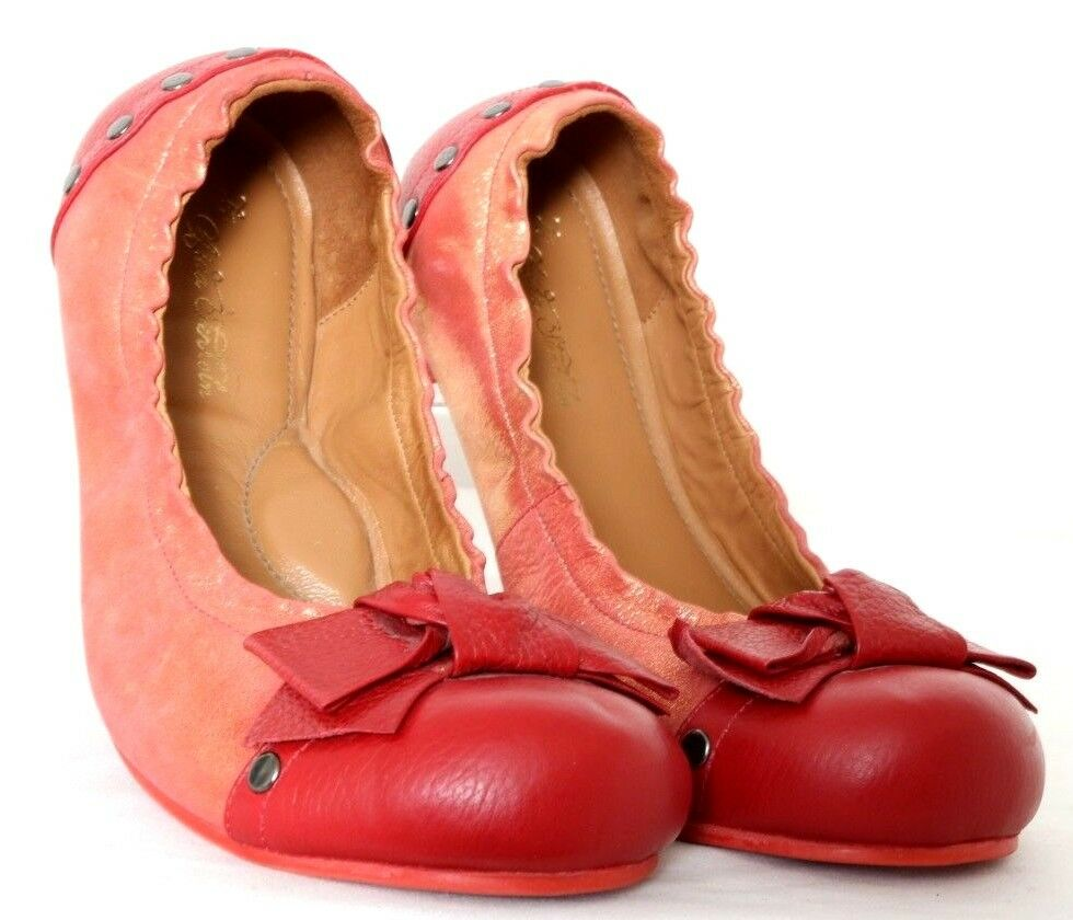 Aida Stenholm Killasumaq Peach Red Leather Glitter Ballet Flat Women's US 9