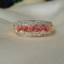 Padparadscha Sapphire Rose Gold Band Ring