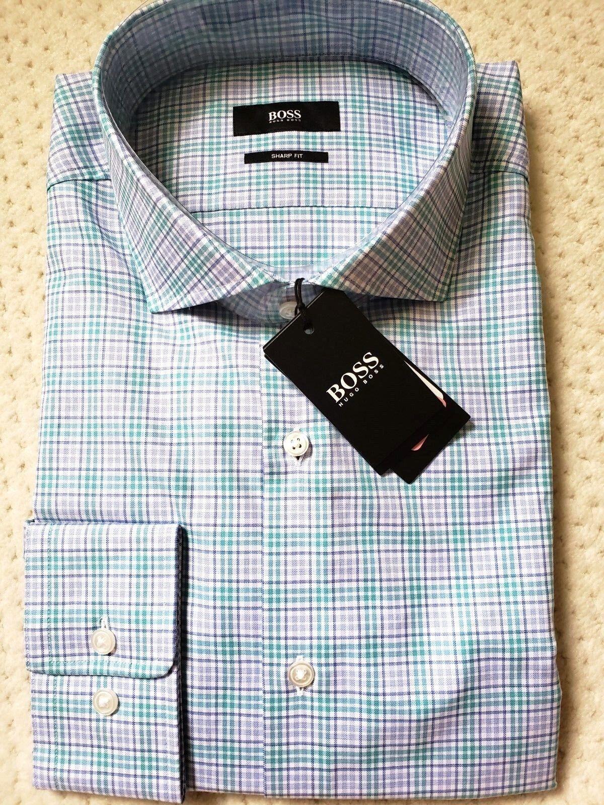 BOSS Hugo Boss Mark US Sharp Fit Spread Collar Aqua bluee Turquoise Dress Shirt