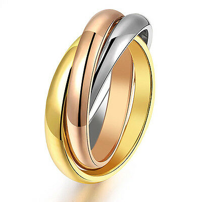 Women's 3 Band Ring Golden Silver Tone Rose-gold Stainless Steel Fantastic Gift