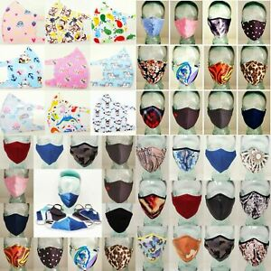 Adult Kids Face Masks Double Layer Protection Washable Reusable Printed Mask Ebay