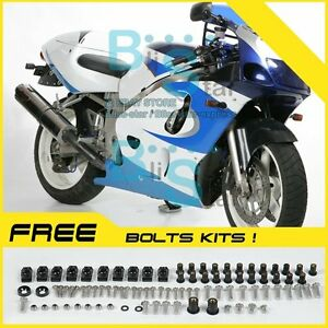 Blue white  Fairing Fit SUZUKI GSX-R600 GSX-R750 SRAD 97 98 1996-1999 011 A3