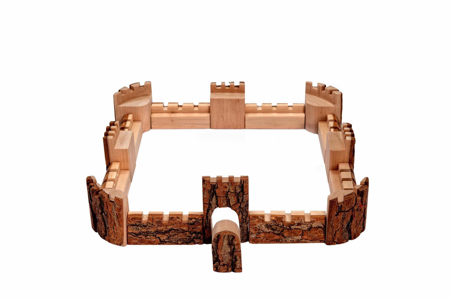 Magic Wood CASTLE Burg Ritterburg Rindenholz 16tlg 43 90mm Netzbeutel